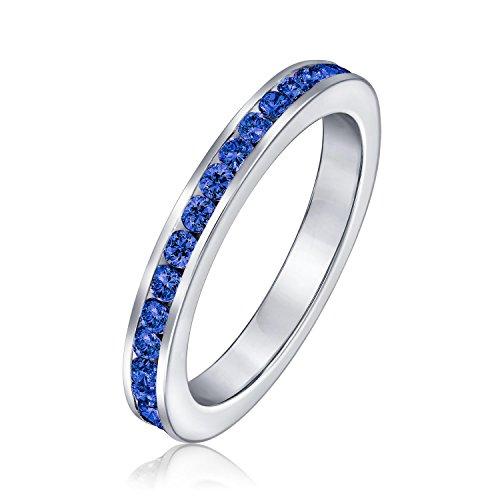 Zirkonia Blau Stapelbar CZ Channel Set Ewigkeitsring Simulierten Saphir Für Damen Jugendlich 925 Sterling Silber