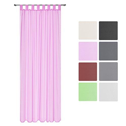 Beautissu tenda decorativa velata con passanti serie amelie – 140x245cm rosa - tenda trasparente per finestre e balconi