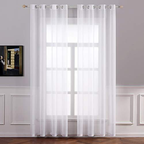 MIULEE 2er Set Sheer Voile Vorhang mit Ösen Transparente Gardine aus Voile Polyester Ösenschal Transparent Wohnzimmer Luftig Dekoschal für Schlafzimmer 140 X 225 cm (B x H), Rod Pocket Weiß
