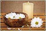 Wallario Garten-Poster Outdoor-Poster, Stillleben - Kerzen und Blumenblüten in Holzschale in Premiumqualität, für den Außeneinsatz geeignet