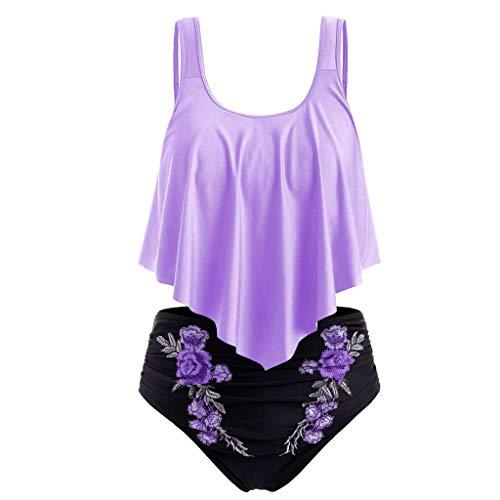 SuperSU-Bademode►▷ Sommer Damen Übergröße Split Badeanzug Stickerei Print High Waisted Bikinis,Frauen Frenulum Push up Bademode Zweiteiler Badebekleidung Beachwear für Meer Urlaub - Plus-size-barbie-puppe Shirt