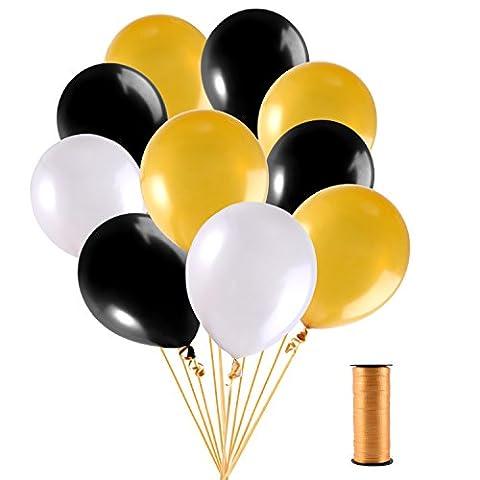 Mudder 12 Pouces Ballons Confettis (d'Or, Blanc et Noir) avec