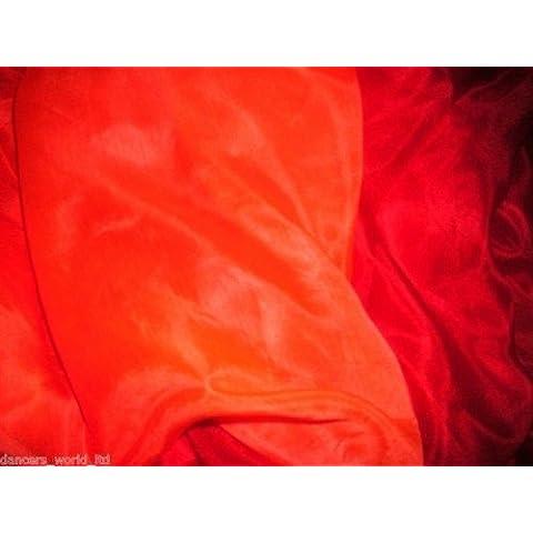Dancers mundo 2de color teñido de mano de danza del vientre velo de seda para Belly Dancers, Maroon and