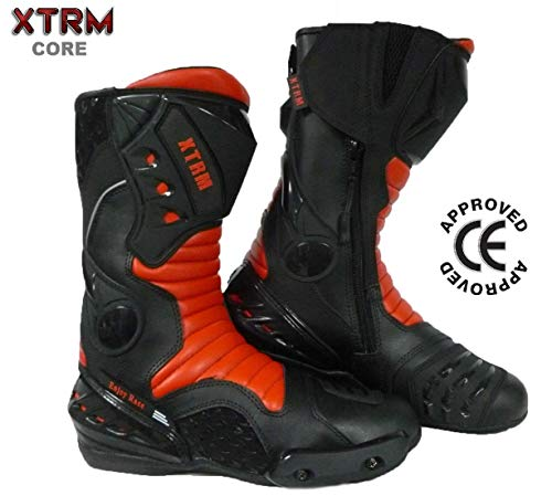 XTRM-CORE Stivali da Moto Stivali da Corsa Motocicletta Scooter Strada Track Racing Sportivi Stivale (Rosso, EU 41 / UK 7)