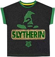 HARRY POTTER Camiseta de Manga Corta para niñas Slytherin