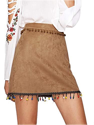 ROMWE - Falda - Casual - para Mujer marrón Large
