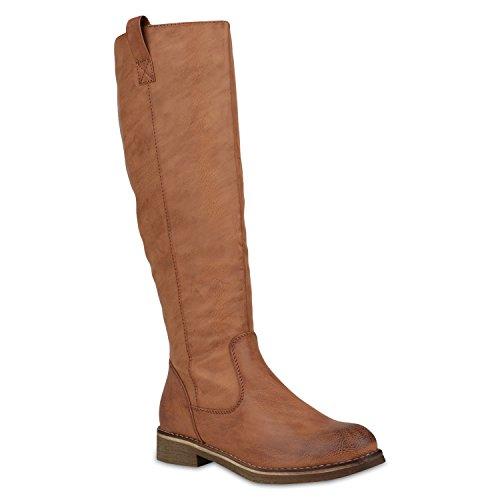 Stiefelparadies Klassische Stiefel Damen Schuhe Gefüttert Boots Profilsohle 148003 Hellbraun Arriate 37 Flandell