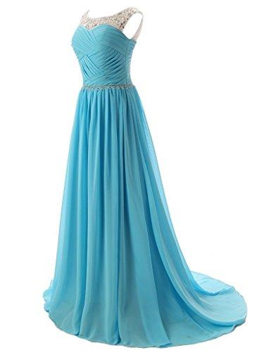 Vantexi Damen Chiffon Lange Brautjungfernkleid Perlen Abendkleid Burgund
