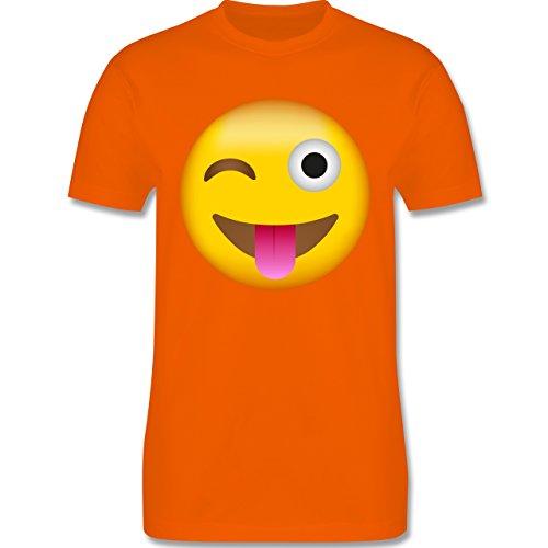 Comic Shirts - Emoji Herausgestreckte Zunge - Herren T-Shirt Rundhals Orange