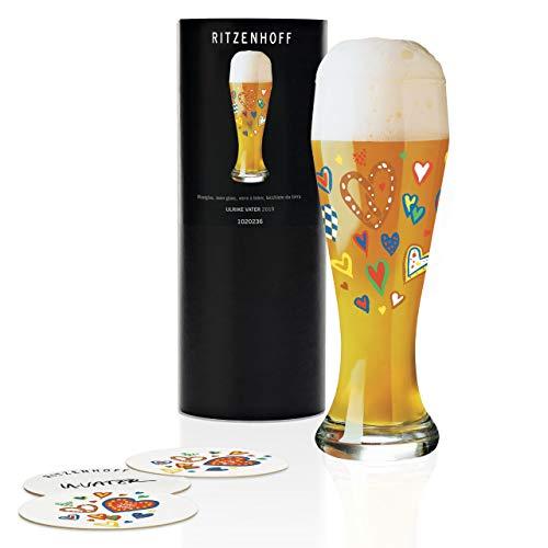 RITZENHOFF Weizen Weizenbierglas von Ulrike Vater, aus Kristallglas, 500 ml, mit fünf Bierdeckeln