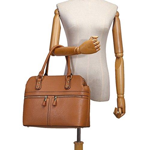 LeahWard® Damen Tragetaschen Berühmtheit Stil nett Handtaschen 3 Fächer Groß Tasche 250 Braun