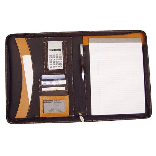 Schreibmappe A4 - Konferenzmappe mit Reißverschluß/ Rechner & Block - (Lederfaserstoff) - braun/schwarz