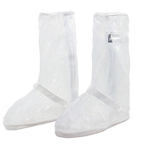 KEESIN Zapatos de lluvia reutilizables Botas limpias Cubierta antideslizante Cremallera lateral Cubierta de zapato impermeable Cubrezapatos plegables Transparente,M(40-41 EU):30cm