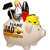 alles-meine.de GmbH Spardose - Schwein _ Dad´s Spielzeug _ inkl. Name - aus Porzellan / Keramik - Werkzeug Handwerker Männer Heimwerker Bastler - Sparschwein - Spielzeug Fonds fü..