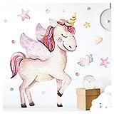 Wandaro Little Deco Wall Sticker Unicorn Cuori Unicorn & Stelle I A4-21 x 29,7 cm I Parete Tatuaggio Ragazza murale Quadri Camera per Bambini Deco Ragazzo DL175