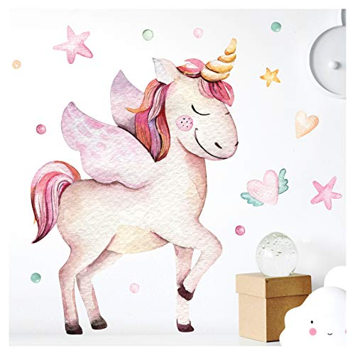 Little Deco Pegatina Pared Unicorn Corazones Estrellas