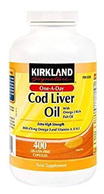 Kirkland Cod Liver Oil with Omega 3 rich Fish Oil 400 Capsules
