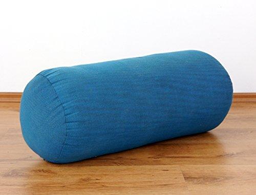 livasia Asia WOHNSTUDIO YOGAROLLE, Bolster für Yoga und Pilates, Yogarolle mit 100% Kapokfüllung, Yogabolster (Hellblau)