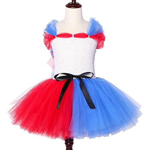 Halloween Cosplay Clown Mädchen Harley Quinn Kostüm Tutu Kleid Rot Blau Baby-Kind-Urlaub Ribbon Tulle (Burlesque Baby Kostüm)