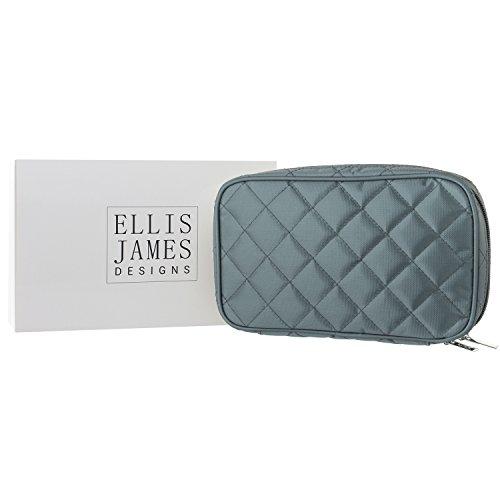 Ellis James Designs Schmucktasche für Reisen - Gestepptes Schmucketui - Weich gepolsterte Schmuckaufbewahrung - In Grau -