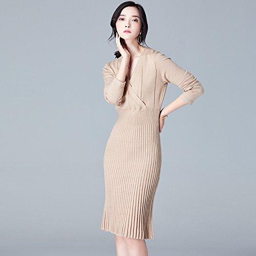 gaolim Kleider von Geweben V Neck Kleid Herbst und Winter Solid-color Stoff Kleider Herbst S Dunkelbeige (V-neck Crochet Trim Top)