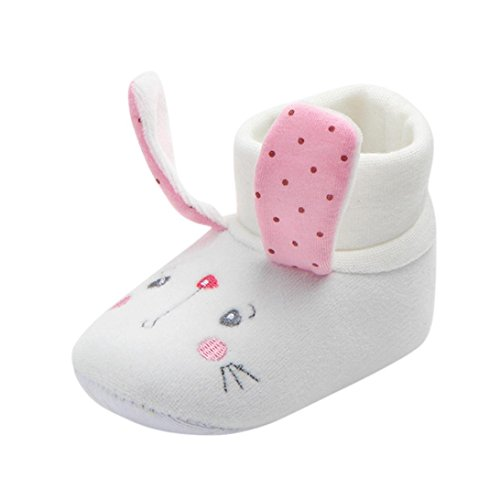 KanLin Lovely Newborn Toddler First Walkers Baby Round Toe Flats Soft Slippers Shoes (6Month, Pink)