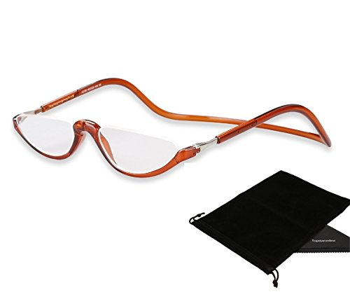 10d879332151 TOPSTARONLINE Adjustable Front Connect Reader Half Moon Round Reading  Glasses from +1.00 to +4.00 Diopters (+3.00