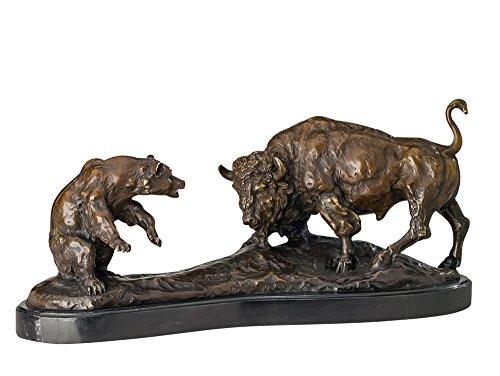 Bronze Bar (Bronze Bär und Stier 50cm Bronzefigur Bronzeskulptur antik Stil sculpture bear)