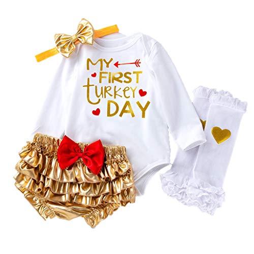 Cuteelf Baby Mädchen Kostüm Thanksgiving Day Overall Strumpfhosen Shorts Beine warme Kleidung Brief Cartoon Print Haber + PP Hosen + Haarband + Bein Socken Satz von Vier - Billige Schüler Kostüm