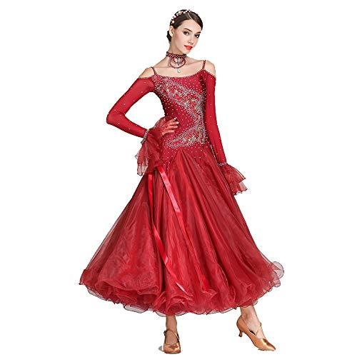 (Walzer Tanzrock Für Frauen Moderne Nationale Standardtanzkleider Leistungswettbewerb Tanzkleidung Lautsprecher Mesh Hülle Mehr Farbe, XXL)