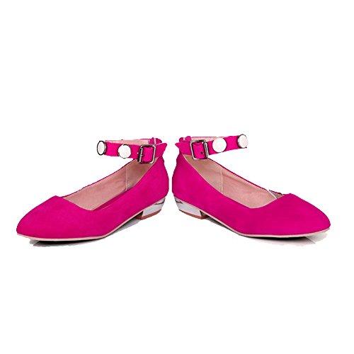 VogueZone009 Donna Tessuto Perla Fibbia Scarpe A Punta Punta Chiusa Tacco Basso Puro Ballerine Rosso