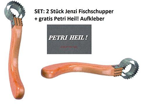 Jenzi Set: 2 STÜCK Fisch-Schupper de Luxe mit Holzgriff +gratis Petri Heil! Aufkleber