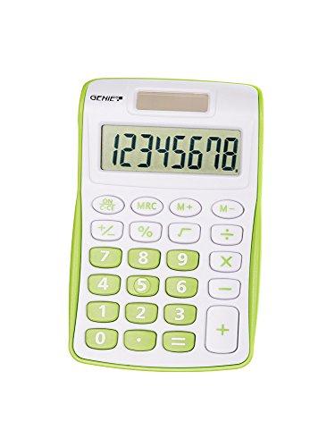 Genie 120 G 8-stelliger Taschenrechner (Dual-Power (Solar und Batterie), kompaktes Design) grün