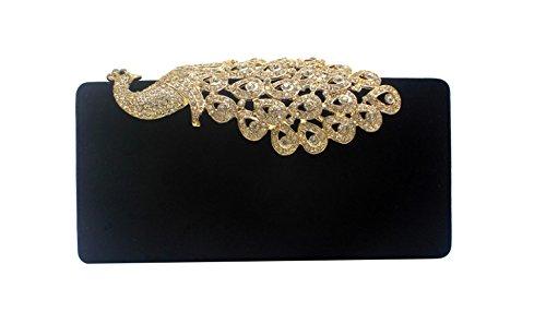 Yy.f Pfau Diamant Samt Bankett Handtasche Abendessen Kleid Brauttasche Kette Paket 3 Farbe Tasche Niedlich Tasche Black