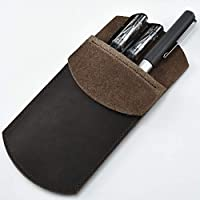 Cizen Leather Case, Leather Pocket Protector Pencil Case, Durable Pocket Protector Vintage for Pen, Stylus Touch Pen (Brown)