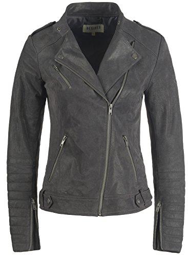 DESIRES Zalla Damen Lederjacke Bikerjacke Echtleder mit Reverskragen, Größe:XS, Farbe:Dark Grey (2890)