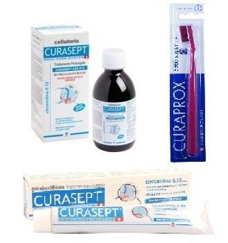 Curasept dentifricio clorexidina 0,12+Curasept ADS 012 colluttorio,kit trattamento prolungato 200ml+ in omaggio uno spazzolino curaprox