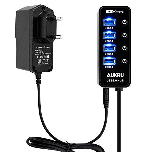 Aukru HUB USB 3.0 Haut Vitesse avec 5 ports plus Alimentation 5V 2A kit pour PC Laptop Windows XP / Vista / 7 / 8 et MAC OS / ordinateurs portables etc compris le secteur pour l'alimentation électrique externe