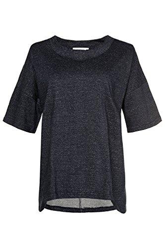 Ulla Popken Femme Grandes tailles Sweat-shirt 715157 bleu foncé chiné