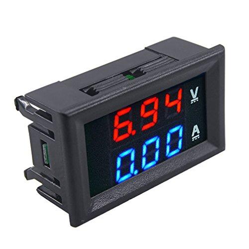 """Saanvi New Mini Digital Voltmeter Ammeter Dc 100V 10A Panel Amp Volt Current Meter Tester 0.28"""" Blue Red Dual Led Display"""