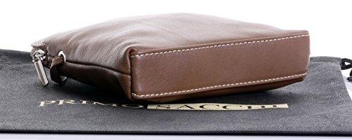 Primo Sacchi® Echte italienische weiches Leder, kleine / Micro Cross Body oder Umhängetasche Handtasche.Enthält Marken schützenden Aufbewahrungstasche. Dunkelbeige