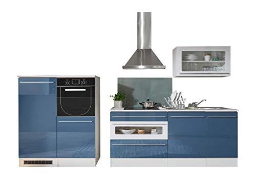 Stella Trading Jazz Küche, Küchenblock ohne E-Geräte, Holzdekor, Weiß-Blau, (B/H/T) 320 x 200 x 60 cm