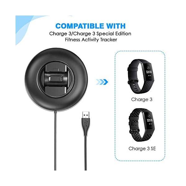 KIMILAR Cargador Compatible con Fitbit Charge 3 Cable, Base de Carga USB Repuesto Cargador para Charge 3 & Special… 7