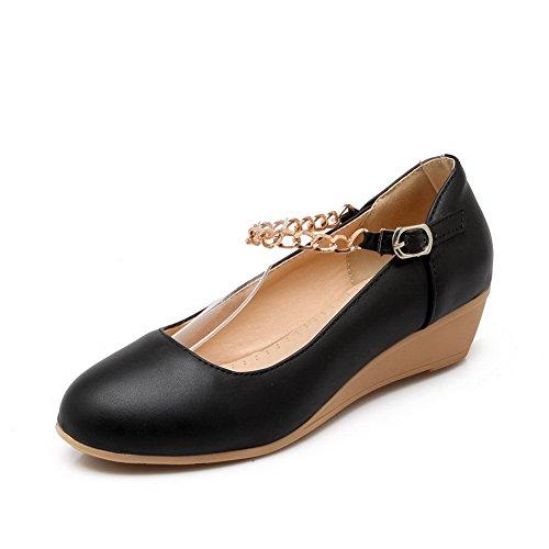 balamasa Mesdames Chaîne en Métal Round-Toe Matière souple pumps-shoes Noir