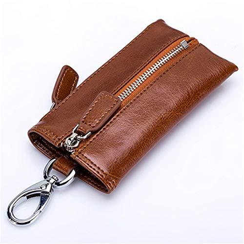 Key Wallets Mode Unisex Universal Home Key Reißverschluss Geldbörsen für Frauen und Männer Haushälterin, Dark Tea Yellow -