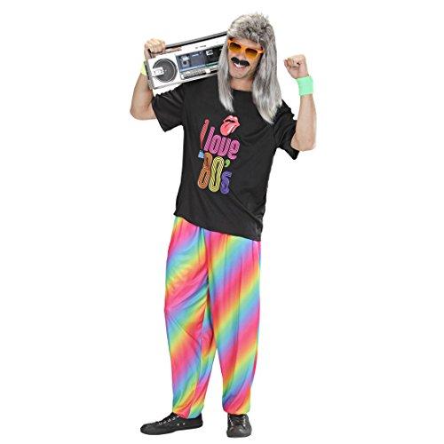 80er Jahre Jogginghose Retro 80`s Hosen M/L 50/52 Regenbogen Baggy Pants Rainbow Hose Karnevalskostüme Herren lustig Bad Taste Partyhose Mottoparty Stoffhose