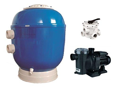 123home24.com Hochwertiger Sandfilter 500 + Poolpumpe 13 m3/h 0,75 V