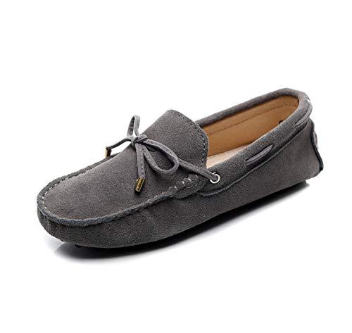 Jamron Damen Klassisch Wildleder Krawatte Loafers Gemütlich Handgefertigt Mokassins Slippers Grau 24208-2 EU44 Zwei Krawatten