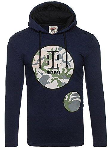 BOLF Herren Sweatshirt Pullover mit Kapuze mit Kordel Top AK72 Dark-Dunkelblau_9080