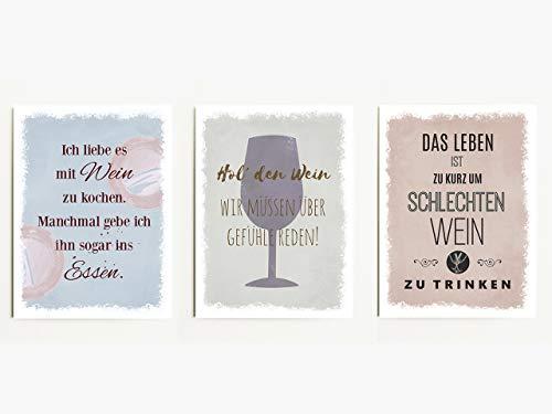 Interluxe Magnet 3er Set Ich Liebe es mit Wein zu Kochen 95x70mm Magnete für Kühlschrank oder Pinnwand mit witzigen Sprüchen zum Thema Wein und Weisheiten